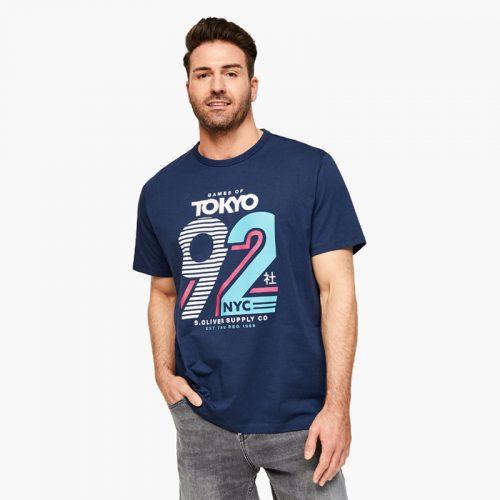 s.Oliver t-shirt donker blauwe print